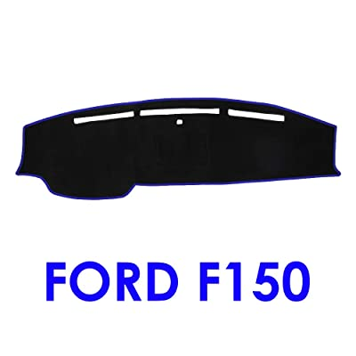 JIAKANUO Car Dashboard Dash Board Cover Mat Fit for Ford F150 2009 2010 2011 2012 2013 2014(Black-Blue MR-005): Automotive