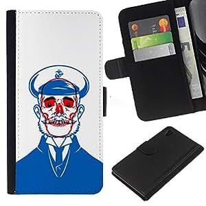 Planetar® Modelo colorido cuero carpeta tirón caso cubierta piel Holster Funda protección Para Sony Xperia Z4 / Sony Xperia Z4V / E6508 ( Sailor Blue Skull Red White Beard )