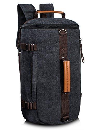 Leaper Large Capacity Multi-functional Canvas Backpack Laptop Rucksack Gym Bag (Black)