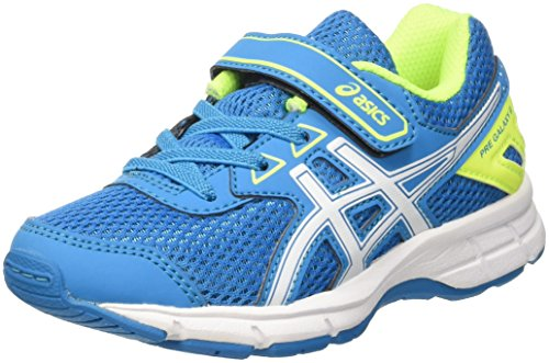 Asics Unisex-Kinder Pre Galaxy 9 Ps Laufschuhe, Mehrfarbig (Blue Jewel/White/Safety Yellow), 32.5 EU