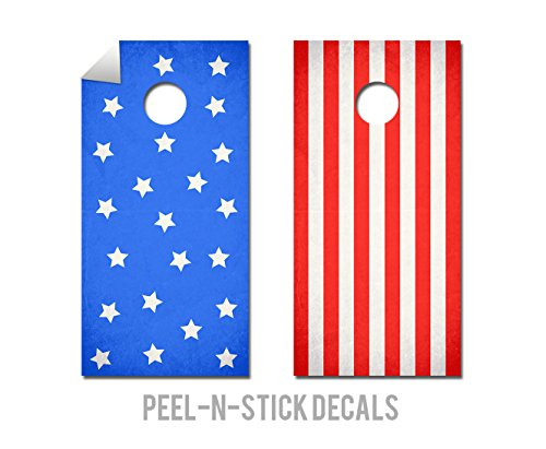 2 Piece Stars and Stripes Cornhole Board Decal Set
