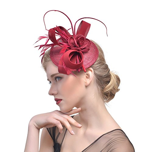 Zongsi Fascinators Hat Flower Mesh Feathers Hairpin Hat Clip Cocktail Tea Wedding Party Headwear For Girls and Women(Style 1, Wine Red) (Apparel Tea)