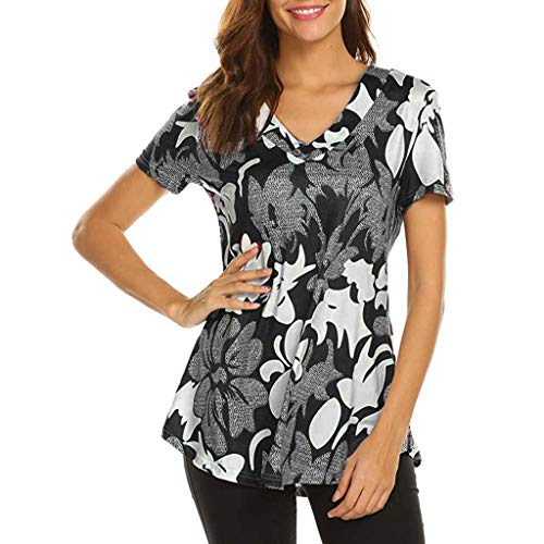 Sunhusing Women's Small Floral Print V-Neck Button Frilled Hem Short Sleeve T-Shirt Top Black