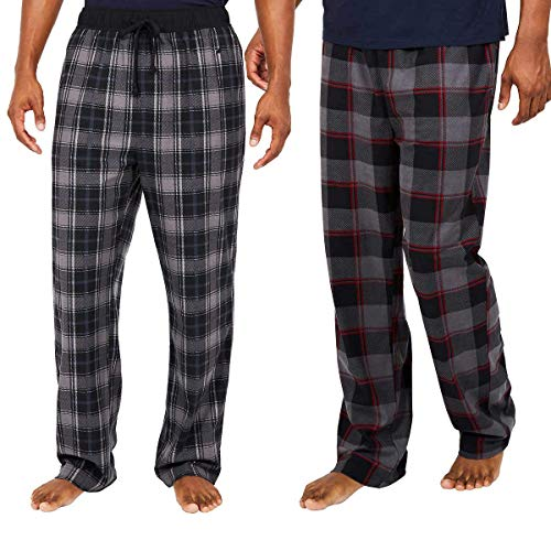 Nautica Men's Sueded Fleece Pajama Pants 2 Pack (L, Grey) - Nautica Mens Pajamas