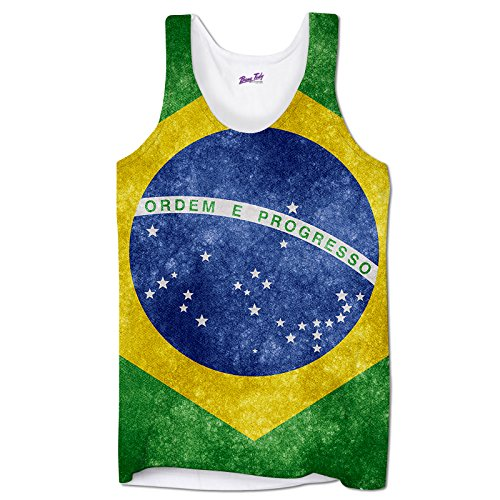 Bang Tidy Clothing Sleeveless Brazil Flag South America Rio de Janeiro Ipanema Beach Mens Vest - White - (Brazil Sleeveless)