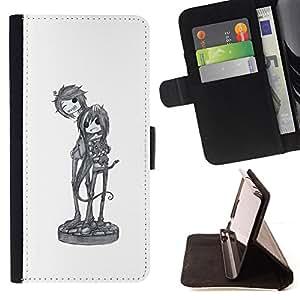 BullDog Case - FOR/Samsung Galaxy S6 EDGE / - / cool band music art character sketch /- Monedero de cuero de la PU Llevar cubierta de la caja con el ID Credit Card Slots Flip funda de cuer