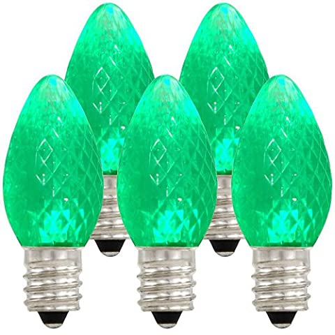 Holiday Lighting Outlet LED C7 Green Replacement Christmas Light Bulbs, Commercial Grade, 3 Diodes (Led's) in Each Bulb, Fits Into E12 Sockets, 25 Bulb (C7 Outlet)