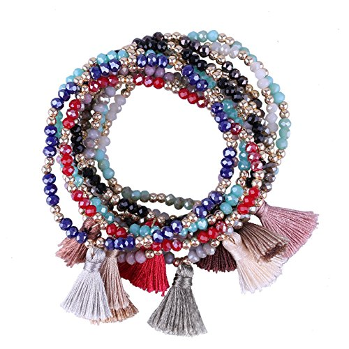 (KELITCH Bohemia Tassels Friendship Bracelet Handmade Beaded Charm Bangles New Jewelry 10 PCS (10PCS Color)