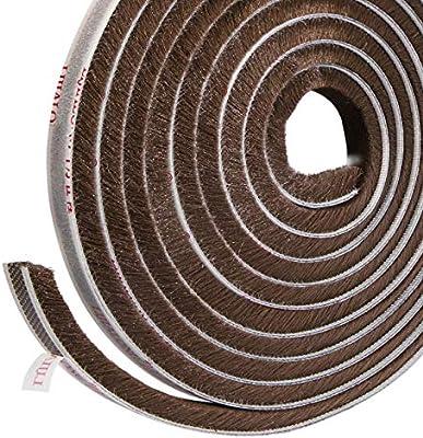 Sellado de cepillo autoadhesivo Burlete 4.9 m (L) x9 mm (W) x 9 mm (T) Tapón