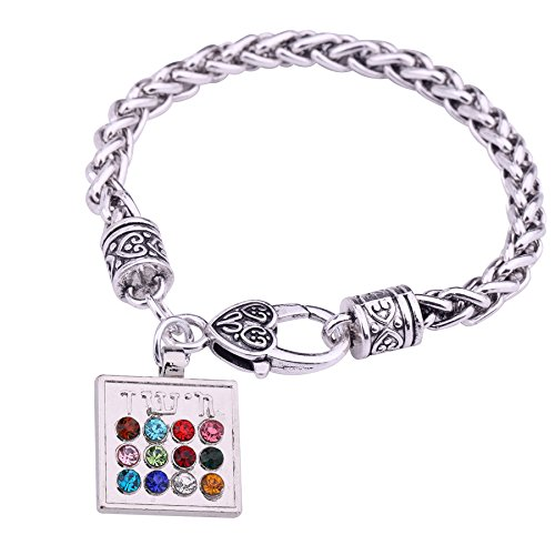 Jewish 12 Tribes Gold Filled Charm Bracelet Antique Silver/Gold Religious Spupernatural Talisman Amulet Jewelry -