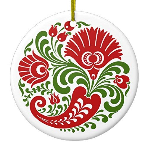 Price comparison product image Arthuryerkes Opus Hungarian Paprika Flower Embroidery Christmas Ornament Ceramic Circle 3 inch