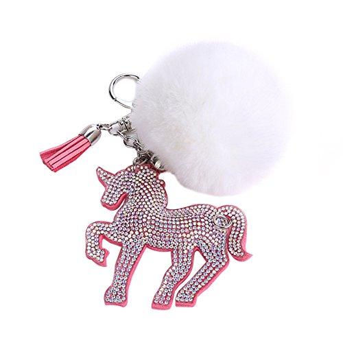 Wholesale Catnew Fashion Cute Cartoon Fluffy Faux Fur Rhinestone Unicorn Keychain Bag Handbag Wallet Car Pendant Keyrings (White) hot sale