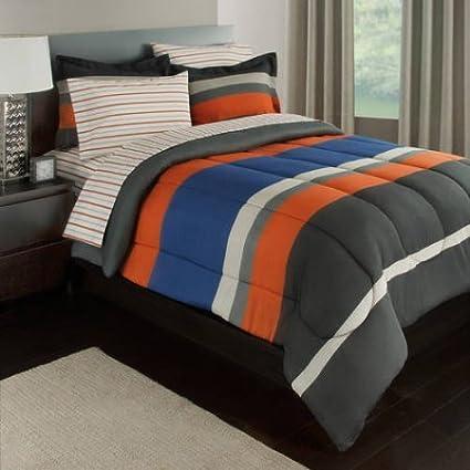 Amazon.com: Gray, Orange & Blue Stripes Boys Teen Queen Comforter ...
