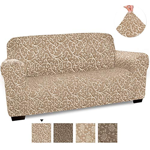 Loveseat Cover - Loveseat Slipcovers - Loveseat Couch Covers - Cotton Fabric Slipcovers - 1-piece Form Fit Stretch Stylish Furniture Cover - Jacquard 3D Collection - Beige Arabesco (Loveseat)