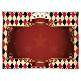Super Soft Throw Blanket Custom Design Cozy Fleece Blanket,Poker Tournament Decorations,Casino Inspired Checkered Framework Stars Swirls Vintage Print Decorative,Multicolor,Perfect for Couch Sofa or B