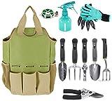 Garden Tool Organizer Tote Bag with 10 Piece Garden Tools,Best Gardening Gift Set,Vegetable Garden Tool Kit,Gardening Hand Tools Set Bag with Garden Digging Claw Gardening Gloves