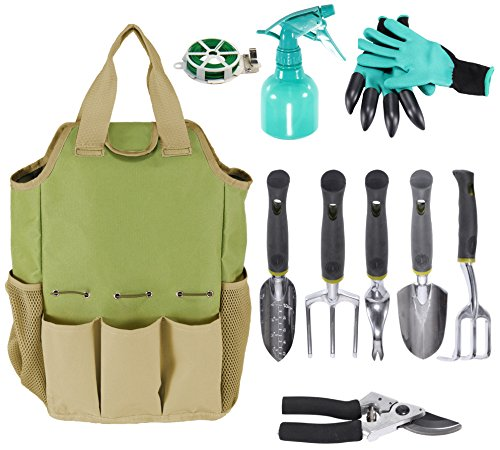 INNO STAGE Gardening Tools Set and Organizer Tote Bag with 10 Piece Garden Tools,Best Garden Gift Set,Vegetable Gardening Hand Tools Kit Bag with Garden Digging Claw Gardening Gloves Tool Tote Set