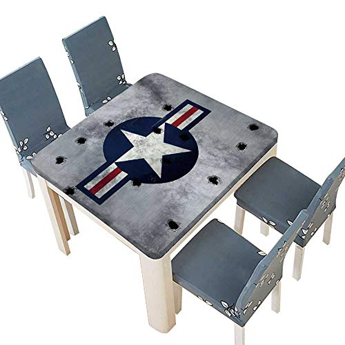 PINAFORE Polyester Tablecloths Great Image USAF Star Roundel on Metal Bullet Holes Spillproof Fabric Tablecloth 69 x 69 INCH (Elastic Edge)