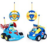 ANTAPRCIS Remote Control Car Set, 2 Cartoon Remote Control Race Police Cars