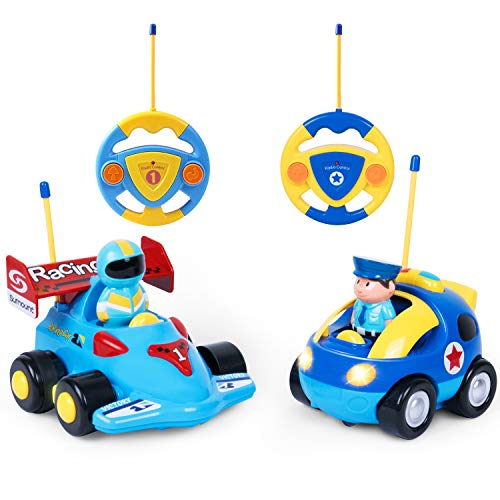 SGILE Remote Control Car Set, 2 Cartoon Remote Control Race Police Cars with Sound and Light, Birthday Gift Present for Boys Girls Toddlers Kids, Blue