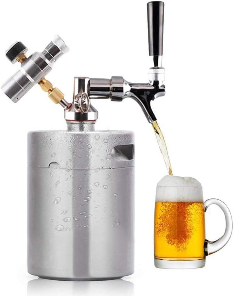 TOPQSC - Mini Barril de Cerveza a presión para dispensador de Manualidades, Sistema de CO2 Ajustable con regulador de vertido 2L (64 oz)