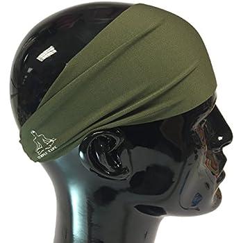 Headbands for Men and Women - Mens Sweatband & Sports Headband Moisture Wicking Workout Sweatbands for Running, Cross Training, Yoga and bike helmet friendly - OD Green