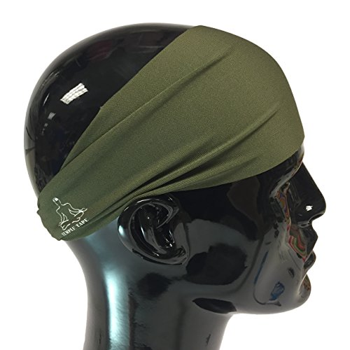 Temple Tape Headbands for Men and Women - Mens Sweatband & Sports Headband Moisture Wicking Workout Sweatbands for Running, Cross Training, Yoga and Bike Helmet Friendly - OD Green (Clothes Accessories And)