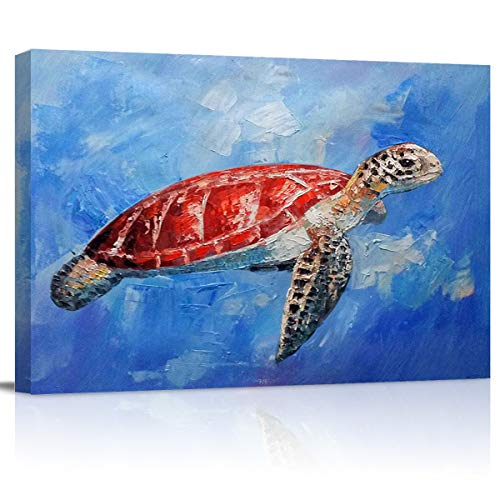 Our Wings Leisure sea Turtle Suspended in The Ocean Wall Art Painting Canvas Artwork Decor for Bedroom Living Room Home Office Decoration Picture with Frames 16x20in
