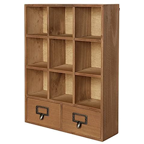 16.5 inch Vintage Freestanding Wooden Display Shelves with 2 Drawers Storage 9 Compartment Shadow Box