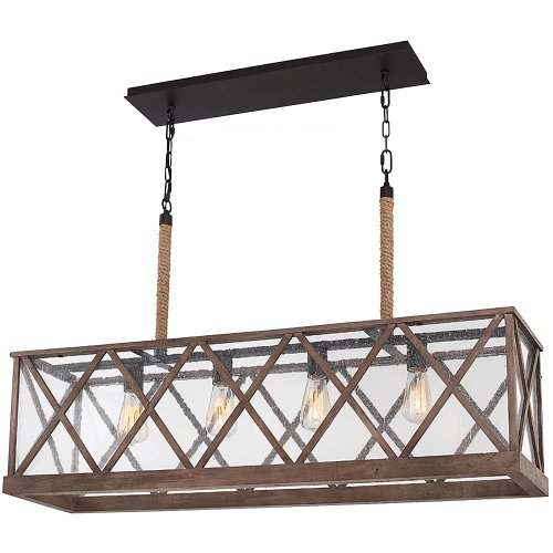 Feiss F2957/4DWO/ORB 4-Light Lumiere Chandelier, Dark Weathered Oak/Oil Rubbed Bronze