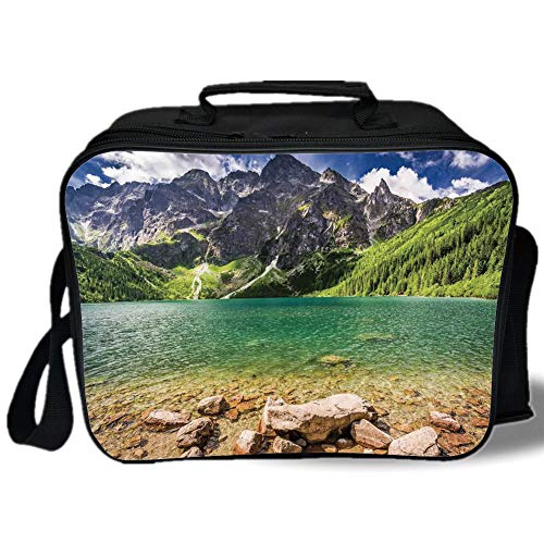Insulated Lunch Bag,Mountain,Lake Tatra and Mountains Poland Forest at Sunrise Rocky Shore,Green Turquoise Light Brown,for Work/School/Picnic, Grey ()