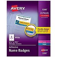 Etiquetas adhesivas para el distintivo del nombre Avery 5395, rectangular, blanco, caja de 400