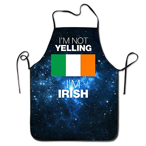 HATS-1 Adjustable Bib Aprons I'M NOT YELLING I'M IRISH Funny Restaurant Chef Bib Apron Adjustable Strap Professional for BBQ,Baking,Cooking