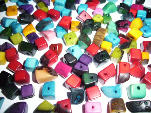 Tagua Nut Chip Beads Mixed Colors 8-12mm Pkg of 24 Beads ()