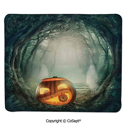 (Non-Slip Rubber Base Mousepad,Scary Halloween Pumpkin Enchanted Forest Mystic Twilight Party Art,for Laptop,Computer & PC (15.74
