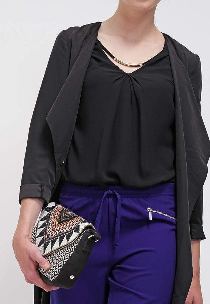 Anna Field Blusa de Mujer en negro o azul, color sólido - Top de Mujer Elegante para Salir Top con Cuello en V - Blusa Sin Mangas de Tela de Jersey: ...