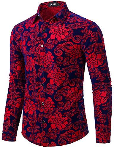 JOGAL Men's Floral Vintage Velvet Slim Fit Long Sleeve Casual Button Down Shirt Large A349 Red Rose