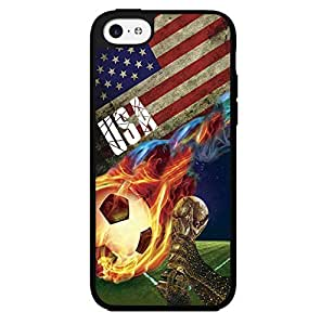 Red, White, and Blue USA Team Flag with Colorful Fiery Soccer Ball Hard Snap on Phone Case (iPhone 5c)