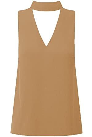 e633d0270100f0 The Celebrity Fashion Womens Collar High Neck Blouse Shirt Plunge V Choker  Neck Top: Amazon.co.uk: Clothing