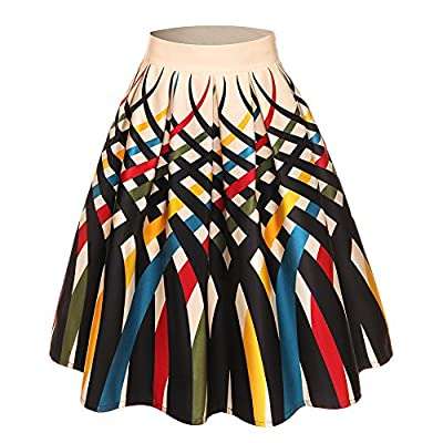 GAESHOW Women's Vintage Pleated High Waist Printed Summer A-line Party Flared Skirts