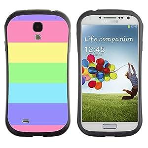 LASTONE PHONE CASE / Suave Silicona Caso Carcasa de Caucho Funda para Samsung Galaxy S4 I9500 / Stripes Summer Sun Pink Purple