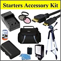 "Starters Accessory Kit For Canon Vixia HFM40 HFM400 HFM41 Camcorder - Includes Filter Kit + Replacement BP-819 Battery + Battery Charger +LED Video Light + Deluxe Case + 50"" Tripod + Mini HDMI Cable & Much More!!"