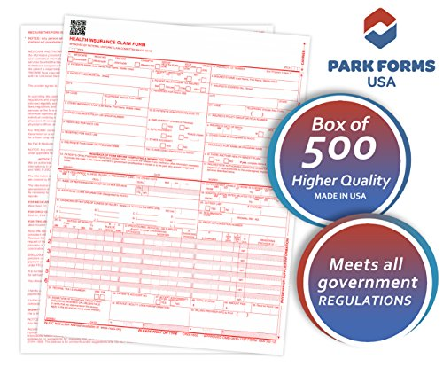 Cms Health Insurance Form (NEW HCFA (Version 02/12) CMS 1500 Claim Forms, Health Insurance, (500 Sheets) Laser Cut Sheet, Medical and Insurance forms , Higher Quality - 8-1/2