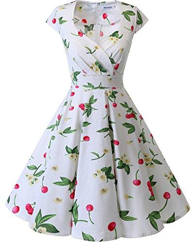 Vintage Small Pico Corto Escote En Cherry Vestido Mujer White 50 Bbonlinedress Aos Retro PzYB0Aq