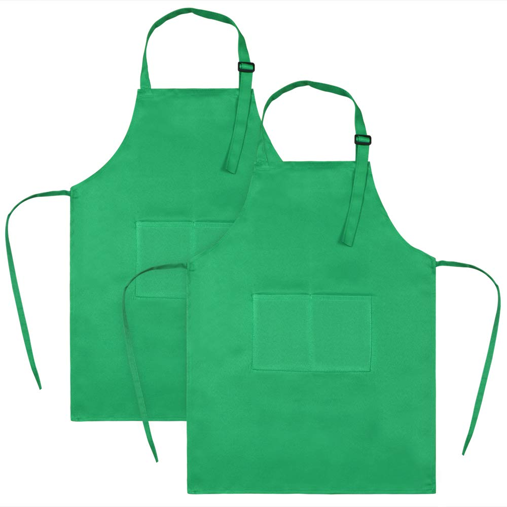 Sinland Kids Apron with Pocket 2 Pack Children Chef Apron for Cooking Baking Painting (Green, M) bbwq5062greenx2