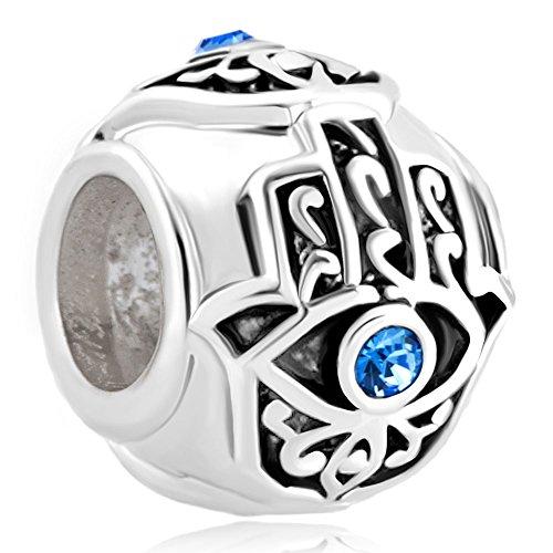 - Q&Locket 925 Sterling Silver Evil Eye Islamic Hamsa Hand Of Fatima Charm For Bracelet