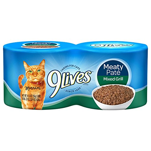 9 Lives Meaty Pate Mixed Grill Wet Cat Food 5.5 Oz, (pack of 4)