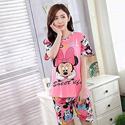 Blue Stones Pajamas Sets For Women Summer Short Sleeve Cartoon Cute Sleepwear Girl Pijamas Mujer Nightgown