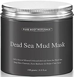 Pure Body Naturals Beauty Dead Sea Mud Mask for Facial Treatment, 250g / 8.8 fl.oz