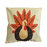 GBSELL Pillow Cover Owl Thanksgiving Turkey Cock Hen Pillow Case Sofa Throw Cushion Cover Home...